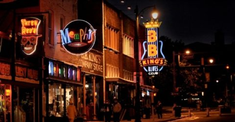 Beale Street in Memphis, Tennessee, at night