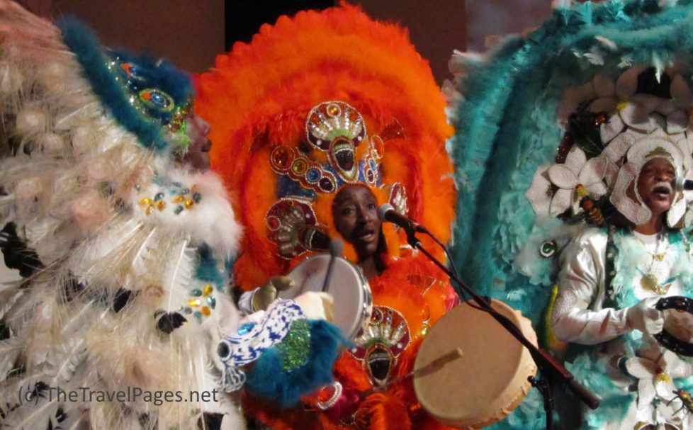 Dancers in traditional costumes in New Orleans, Lousiana