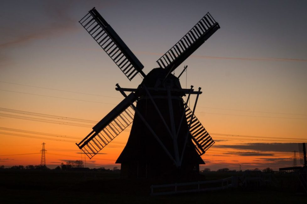 Windmill in the Netherlands at sunset