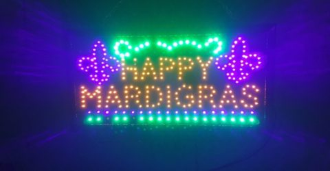 Happy Mardi Gras sign in Mobile, Alabama, home of the USA's first Mardi Gras celebrations.